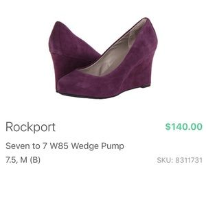 🎉EUC Rockport Seven to 7 W85 Purple Wedge Pump